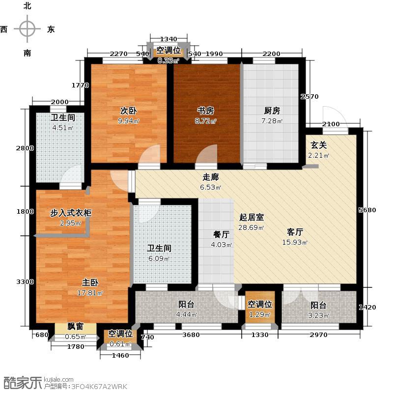 佳宁苑128.00㎡D户型3室2厅2卫