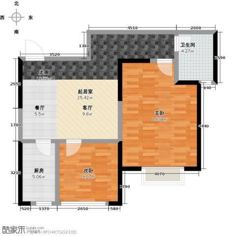 益华御才湾2室0厅1卫1厨80.00㎡户型图