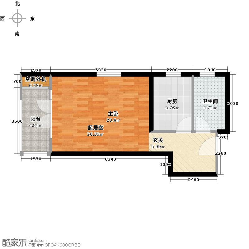 路劲主场48.00㎡7号楼户型1室1卫户型1室1卫