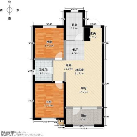 首创光和城2室0厅1卫1厨101.00㎡户型图