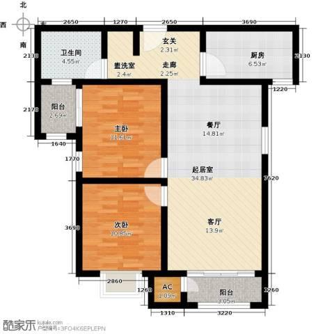 钱隆学府2室0厅1卫1厨94.00㎡户型图