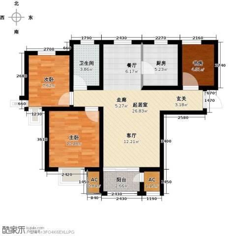 钱隆学府3室0厅1卫1厨91.00㎡户型图