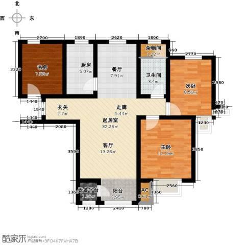 钱隆学府3室0厅1卫1厨90.00㎡户型图