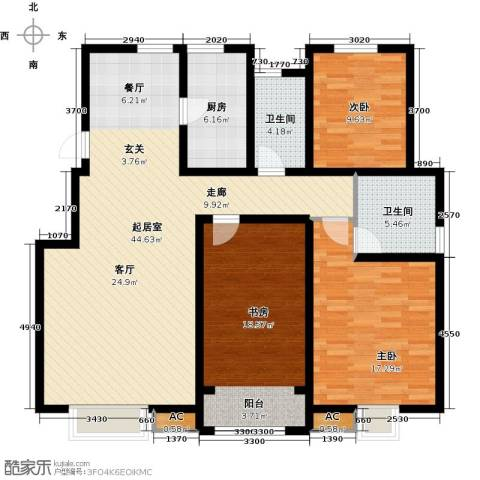 首创康桥郡3室0厅2卫1厨135.00㎡户型图