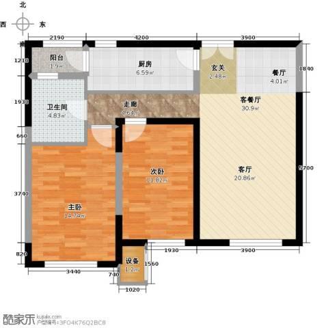 金地紫云庭2室1厅1卫1厨100.00㎡户型图