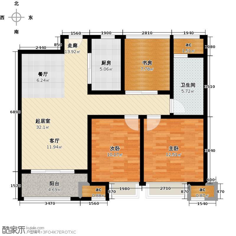 万科城93.00㎡8#、12#标准层B1户型图3室2厅1卫1厨户型3室2厅1卫