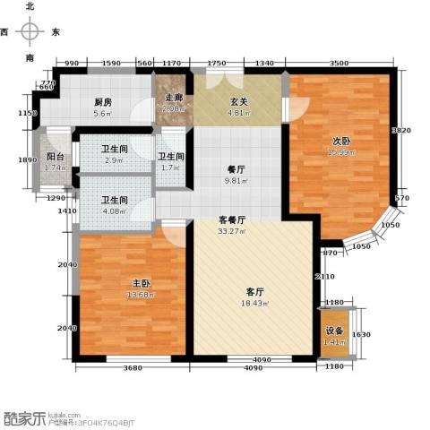 金地紫云庭2室1厅3卫1厨110.00㎡户型图