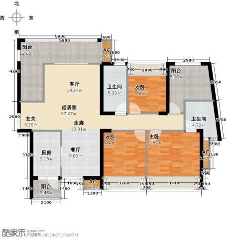 金沙世纪城3室0厅2卫1厨153.00㎡户型图