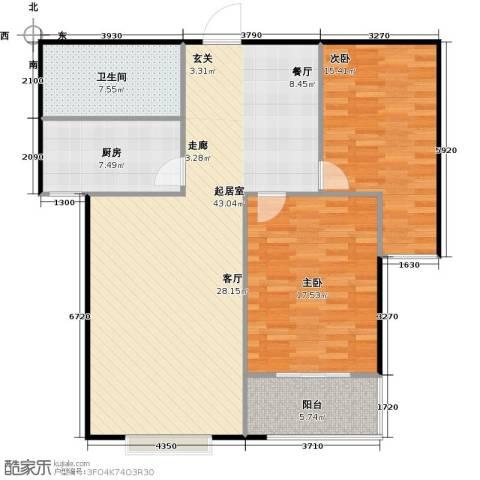 国海公寓2室0厅1卫1厨104.00㎡户型图