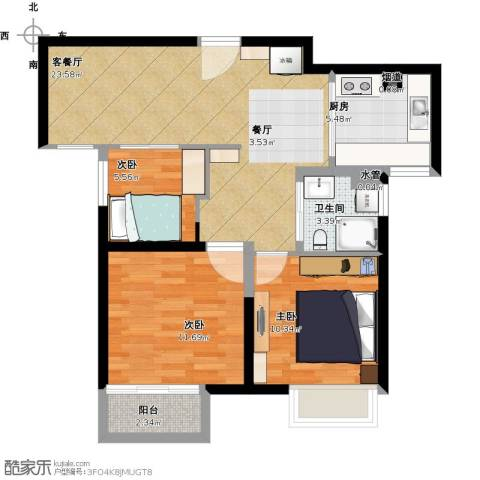 保利东湾排屋3室1厅1卫1厨90.00㎡户型图