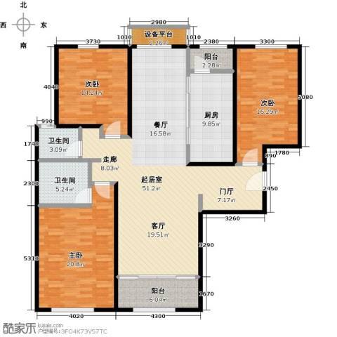 依水现代城3室0厅2卫1厨147.00㎡户型图