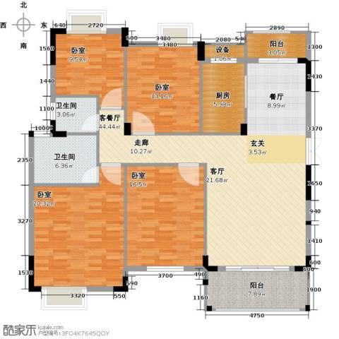 联泰棕榈庄园1厅2卫1厨155.00㎡户型图