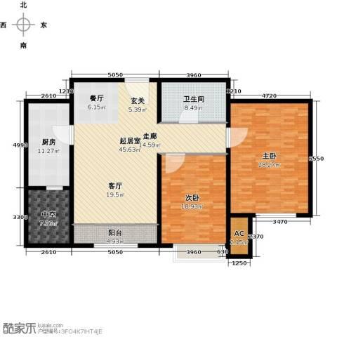 经纬城市绿洲武清二期2室0厅1卫1厨126.93㎡户型图