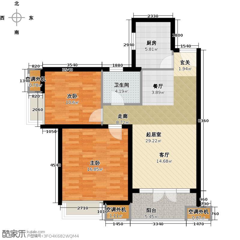 路劲主场85.00㎡4号楼户型2室2厅1卫户型2室2厅1卫