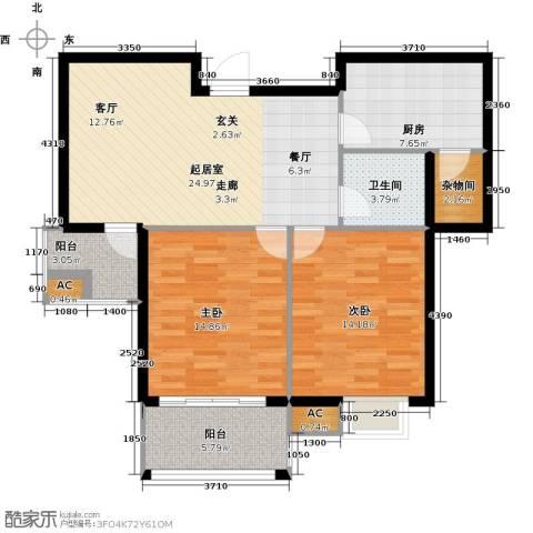 和顺新里程2室0厅1卫1厨77.65㎡户型图