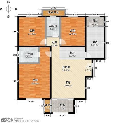 依水现代城3室0厅2卫1厨134.00㎡户型图