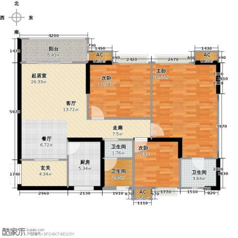翰城国际3室0厅3卫1厨116.00㎡户型图