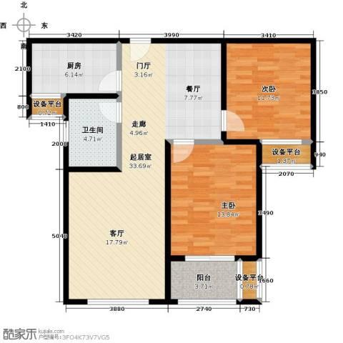 依水现代城2室0厅1卫1厨87.00㎡户型图