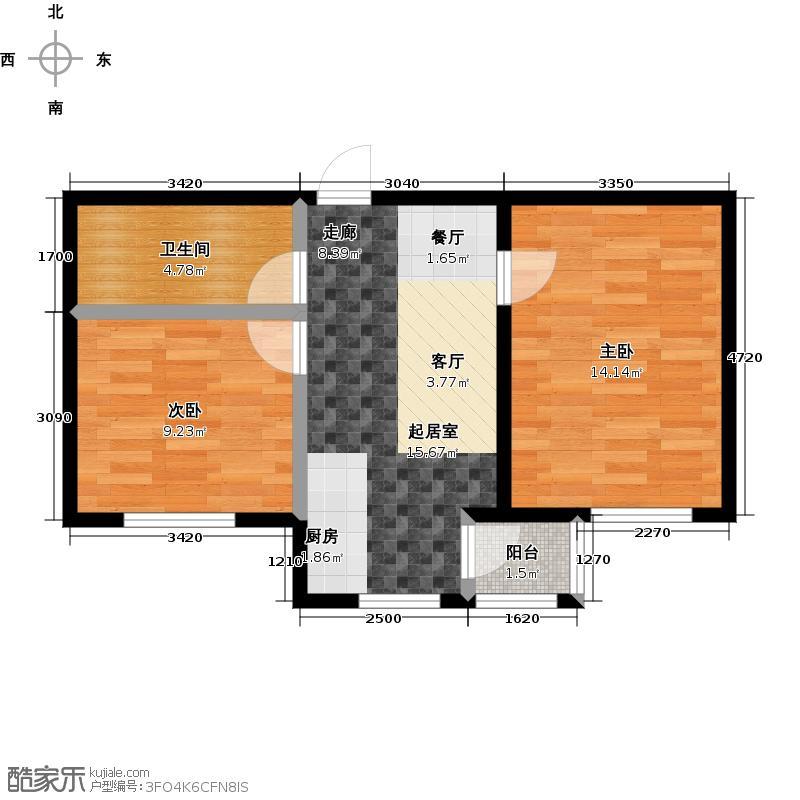 和泰馨城64.00㎡两室一厅一卫户型2室1厅1卫