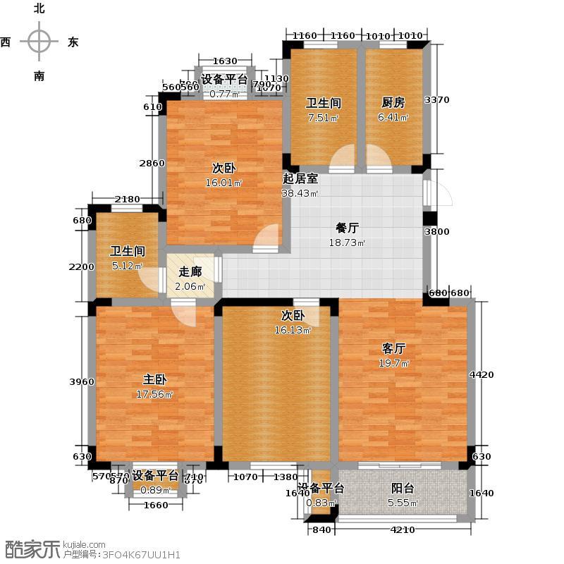 溪畔橡园135.00㎡C户型3室2厅2卫