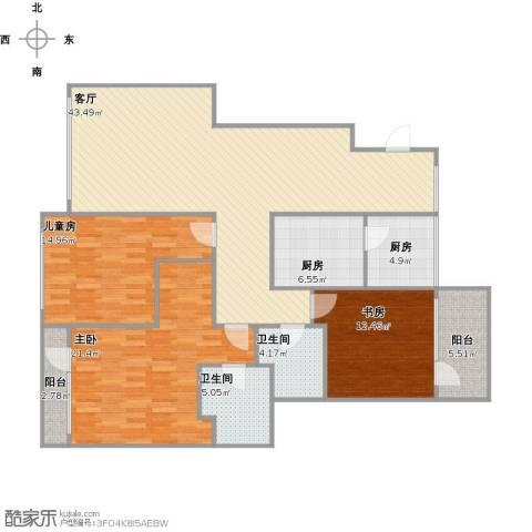 希望廊桥郡3室1厅2卫2厨163.00㎡户型图