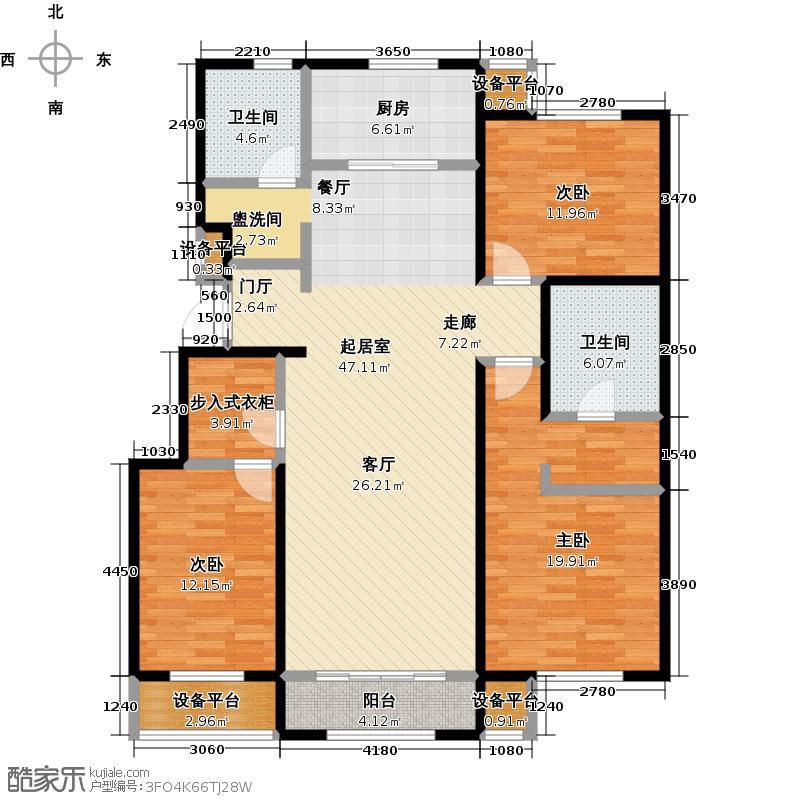 润达万科金域蓝湾138.00㎡107#楼K1户型138㎡户型3室2厅2卫