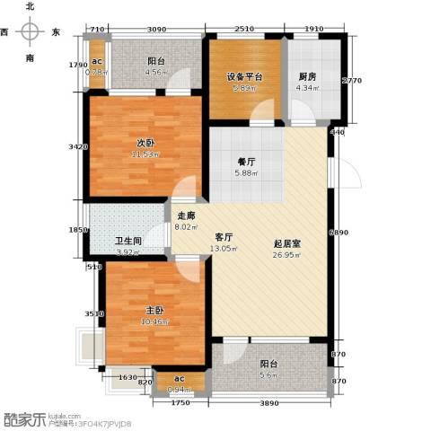 阳光100国际新城2室0厅1卫1厨96.00㎡户型图