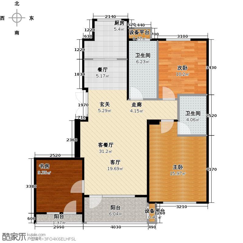 万达金石天成104.18㎡H户型三室二厅二卫户型3室2厅2卫
