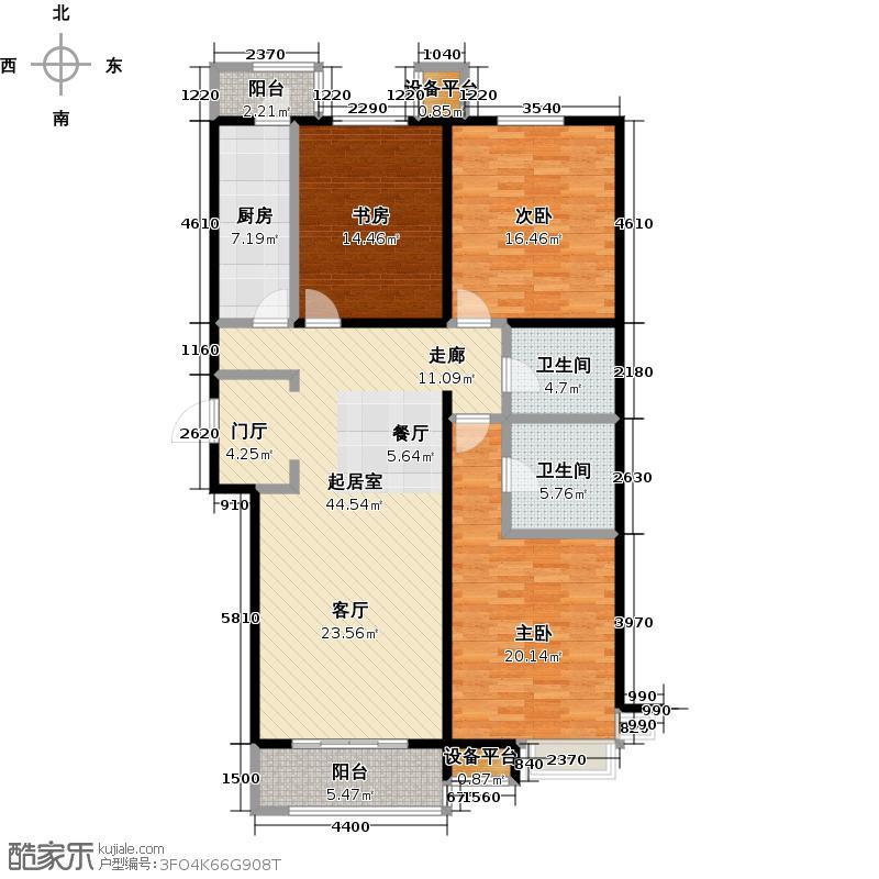 润达万科金域蓝湾138.00㎡三室两厅两卫138平米户型3室2厅2卫