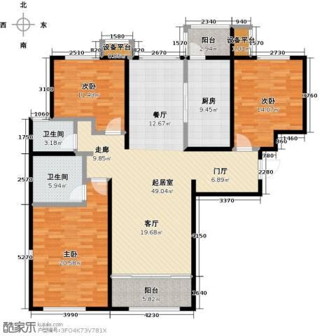 依水现代城3室0厅2卫1厨140.00㎡户型图