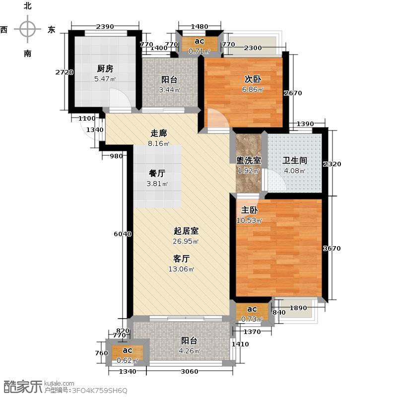 中海凤凰熙岸B4户型90.00m2户型3室2厅1卫-副本
