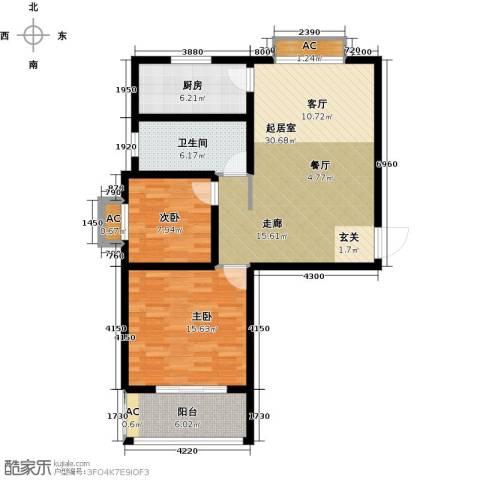 宝地名邸2室0厅1卫1厨84.00㎡户型图