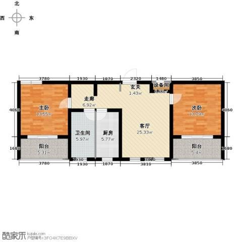 宝地名邸2室1厅1卫1厨87.00㎡户型图