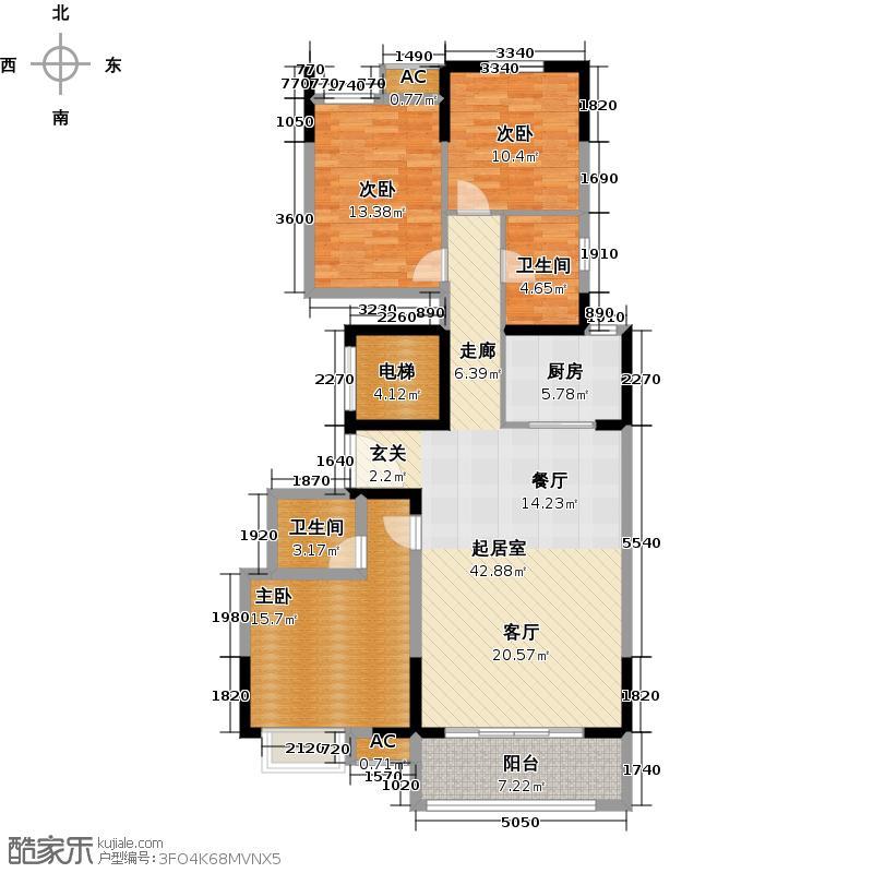 夏洛兹花园124.00㎡C1户型3室2厅2卫
