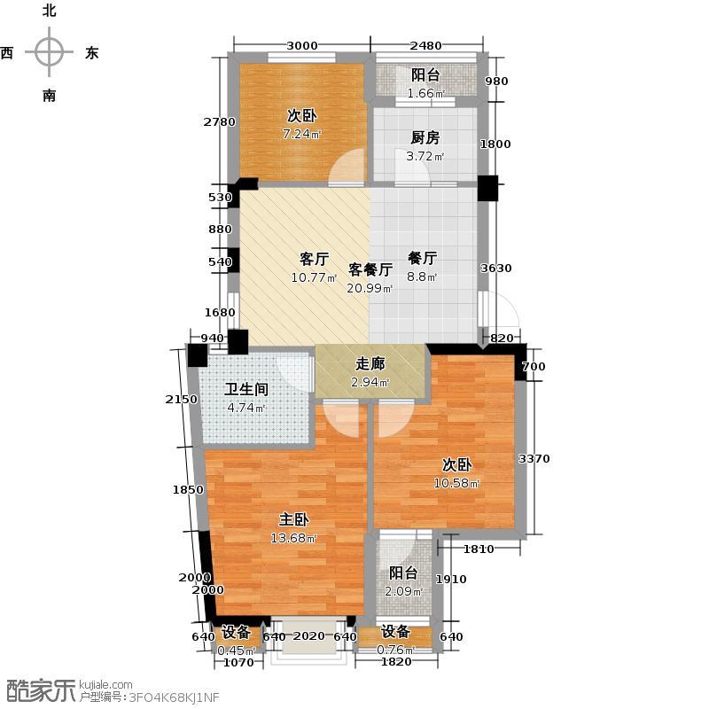 华星融城97.15㎡F1户型 三室两厅户型3室2厅