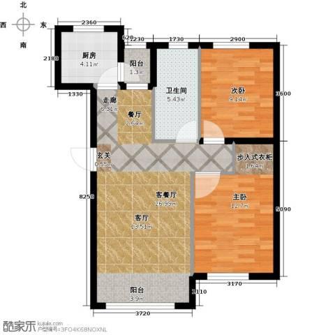 知润山2室1厅1卫1厨75.00㎡户型图