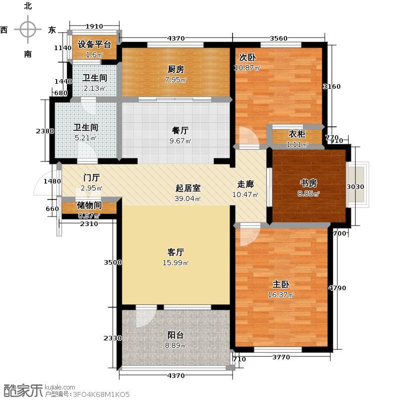 亿达第一郡116.00㎡B户型 三室二厅一卫户型4室2厅1卫