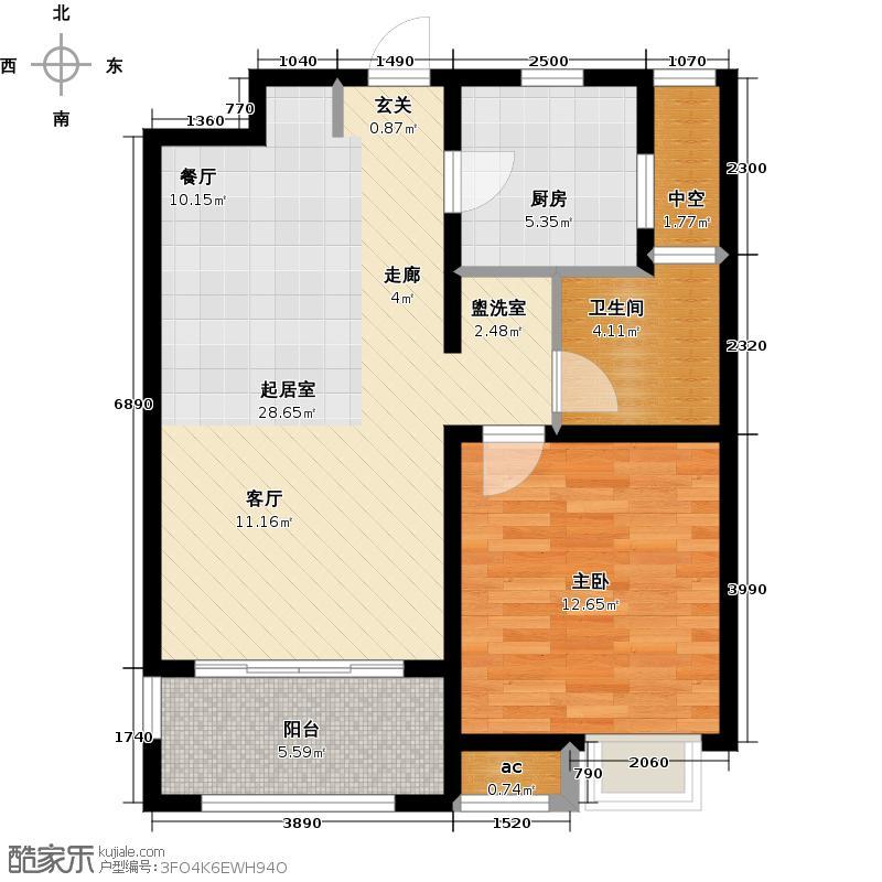 九龙仓时代上城二期繁华里68.00㎡G1户型3室2厅1卫