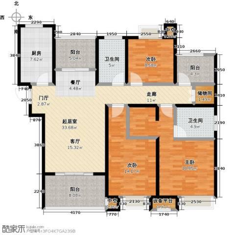 绿地中央广场3室0厅2卫1厨130.04㎡户型图
