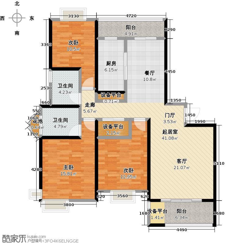 越湖名邸126.00㎡房型: 三房; 面积段: 126 -150 平方米;户型