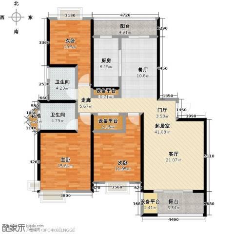越湖名邸3室0厅2卫1厨126.00㎡户型图