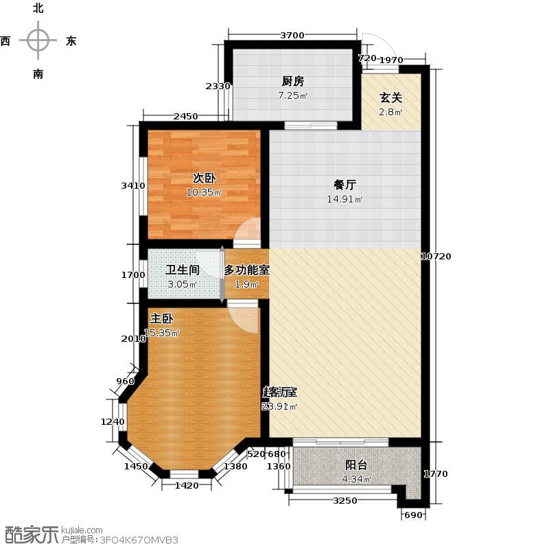 映月清水湾94.40㎡B户型 两室两厅一卫户型2室2厅1卫