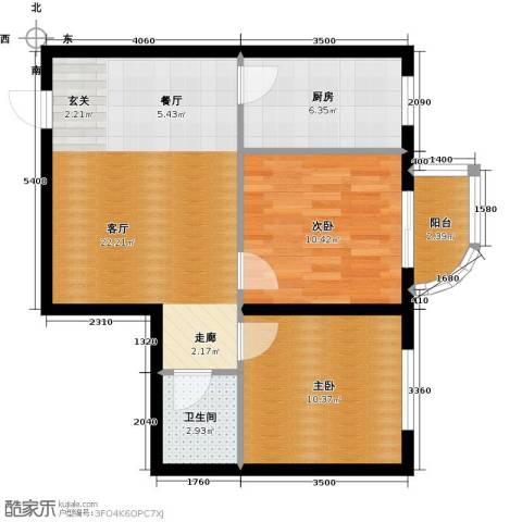 心悦购物广场2室1厅1卫1厨60.00㎡户型图