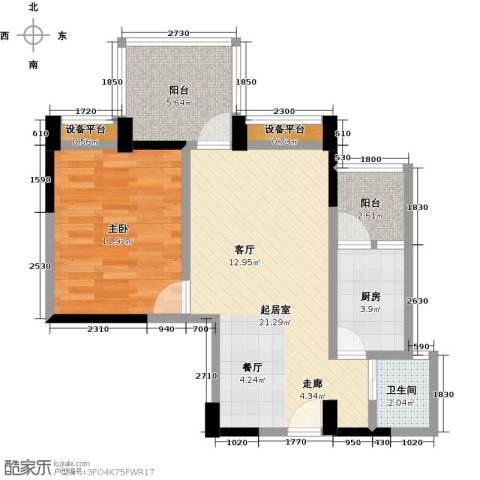 东湖尚�1室0厅1卫1厨57.00㎡户型图