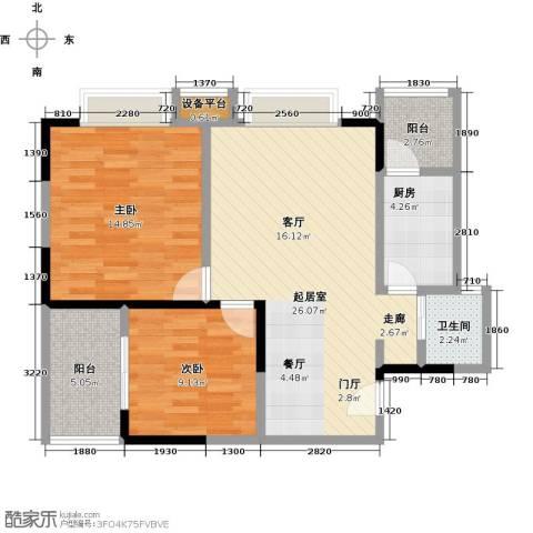 东湖尚�2室0厅1卫1厨74.00㎡户型图
