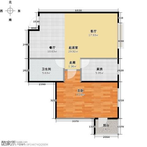 炫彩SOHO1室0厅1卫1厨77.00㎡户型图