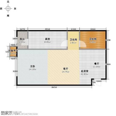 炫彩SOHO1卫1厨68.00㎡户型图