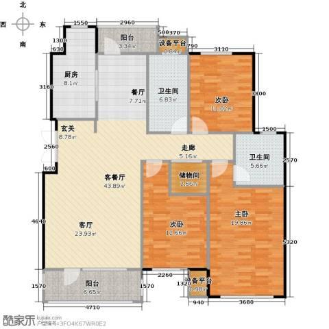 万达金石天成3室1厅2卫1厨132.00㎡户型图
