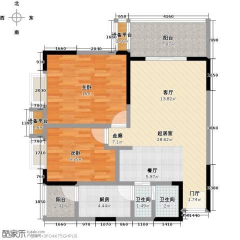 东湖尚�2室0厅2卫1厨82.00㎡户型图
