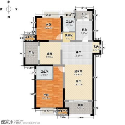 盐城金辉城2室0厅2卫1厨143.00㎡户型图